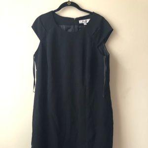 Dress barn black sheath dress with a back zipper.